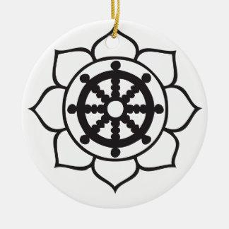 Dharma Wheel Lotus Ceramic Ornament