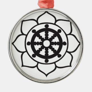 Dharma Wheel Lotus Metal Ornament