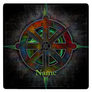 Dharma Wheel of Energy Square Wall Clock