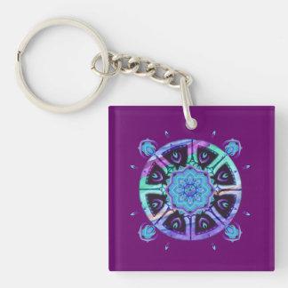 Dharma Wheel Purple Blue Abstract Keychain