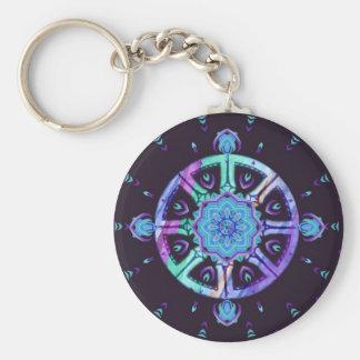 Dharma Wheel Purple Blue Mandala Keychain
