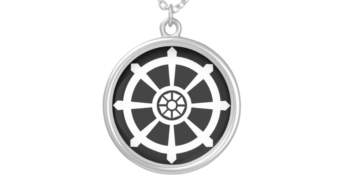 Dharma wheel silver plated necklace zazzle aloadofball Gallery