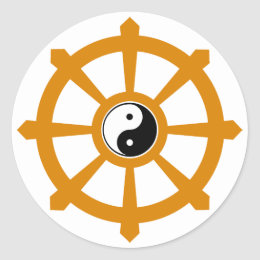Dharma Wheel Yin Yang Classic Round Sticker