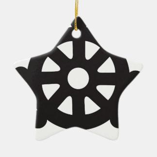 "Dharmacakra, Dharmachakra, ""Wheel of Dharma"" Ceramic Ornament"