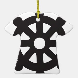 "Dharmacakra, Dharmachakra, ""Wheel of Dharma"" Double-Sided T-Shirt Ceramic Christmas Ornament"