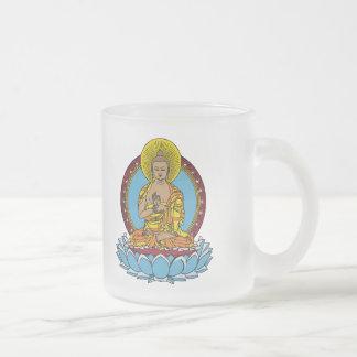 Dharmachakra Buddha 10 Oz Frosted Glass Coffee Mug