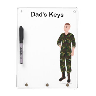 "DHG Dry Erase Board + 3 key chain holders (9""x12"")"