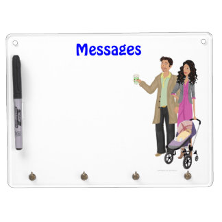 "DHG Dry Erase Board + 4 key chain holders (9""x12"")"