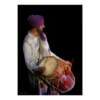 Dhol Drummer, Fine Art Photograph Poster