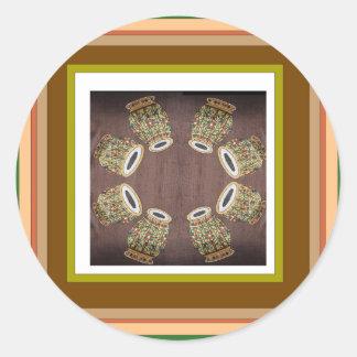 DHOLAK Drum used in folk dances of India Classic Round Sticker