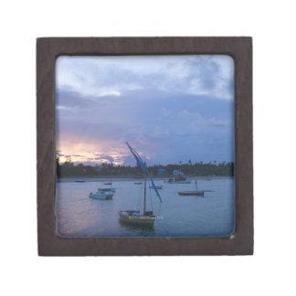 Dhows at sunset, Vilanculos Harbor, Bazaruto Jewelry Box