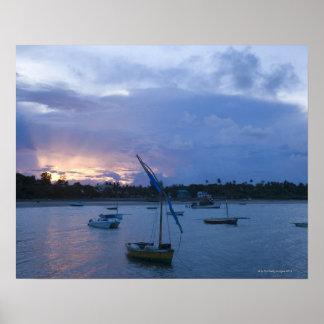 Dhows en la puesta del sol, puerto de Vilanculos,  Poster