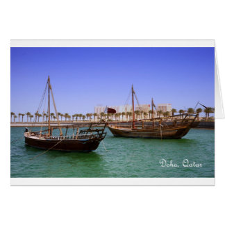 Dhows in Doha Bay Card