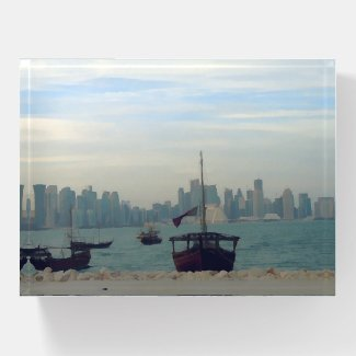 Dhows in Doha port  - painting Paperweight