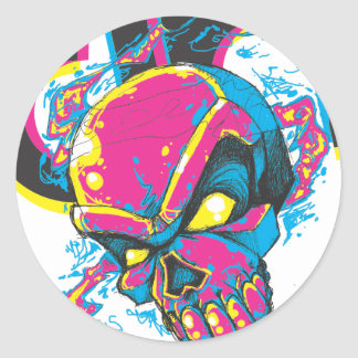 DHskull and logo Classic Round Sticker