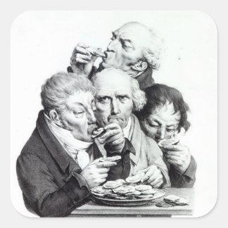 d'Huitres de Les Mangeurs, 1825 Calcomanía Cuadrada Personalizada
