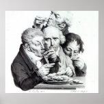 d'Huitres de Les Mangeurs, 1825 Póster
