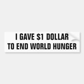 Di $1 dólares al hambre del mundo del extremo pegatina para auto