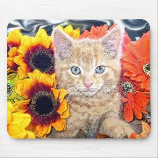 Di Milo, gato del gatito del Tabby del bebé, flore Alfombrillas De Ratones