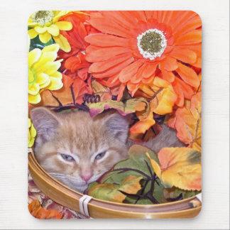 Di Milo, gato lindo del gatito del Tabby, flores d Alfombrilla De Ratón