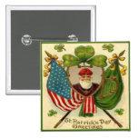 Día 10 del St Patricks del vintage Pin Cuadrada 5 Cm