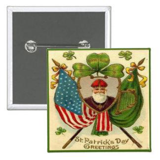 Día 10 del St Patricks del vintage Pin Cuadrado