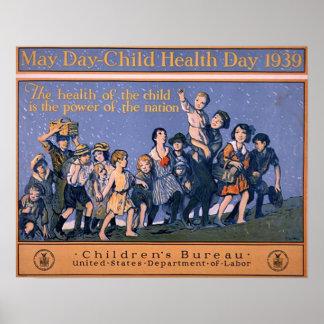 Día 1939 de la salud del Día-Niño de mayo Póster