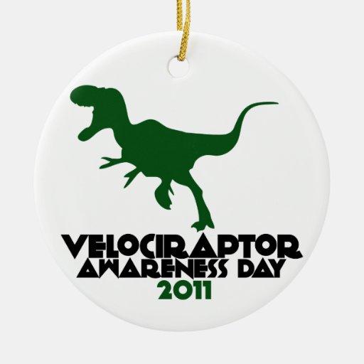 Día 2011 de la conciencia del Velociraptor Adorno Navideño Redondo De Cerámica