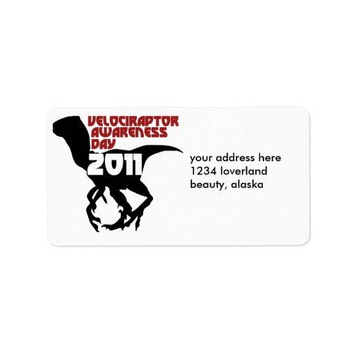 Día 2011 de la conciencia del Velociraptor Etiquetas De Dirección