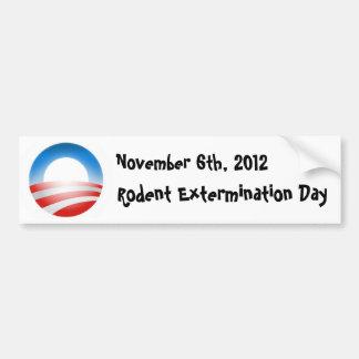 Día 2012 de la exterminación del roedor pegatina de parachoque