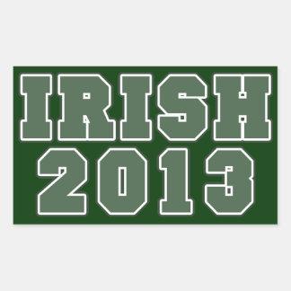Día 2013 de los patricks del st del irlandés rectangular pegatina