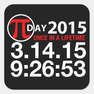 Día 2015 del pi pegatina cuadrada