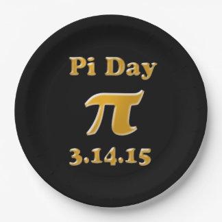 Día 2015 del pi placas de papel de 9 pulgadas platos de papel