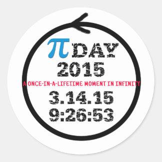 Día 2015 del pi: Un momento del una vez Pegatina Redonda