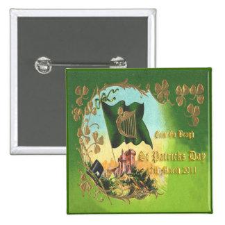 Día 23 del St Patricks del vintage Pin Cuadrada 5 Cm