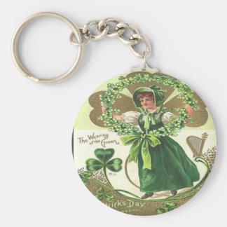 Día 2 del St Patricks del vintage Llavero Redondo Tipo Pin