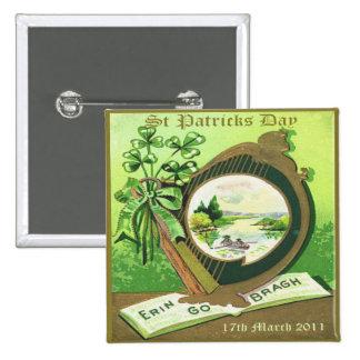 Día 35 del St Patricks del vintage Pin Cuadrada 5 Cm