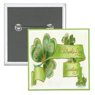 Día 37 del St Patricks del vintage Pin Cuadrada 5 Cm
