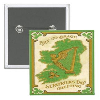 Día 38 del St Patricks del vintage Pin Cuadrada 5 Cm
