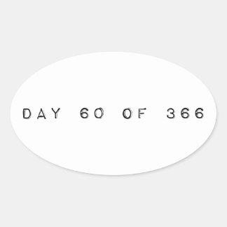 día 60 de DÍA de SALTO 366 Pegatina Ovalada
