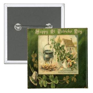 Día 6 del St Patricks del vintage Pin Cuadrado