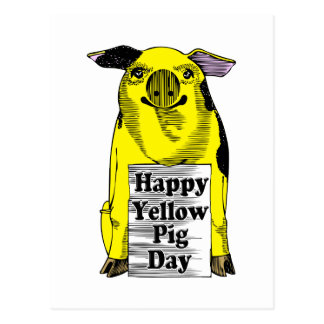 Día amarillo del cerdo (cerdo con la muestra) postales