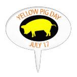 Día amarillo del cerdo figura para tarta