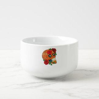 Día anaranjado del tatuaje de rosas rojos del tazón para sopa