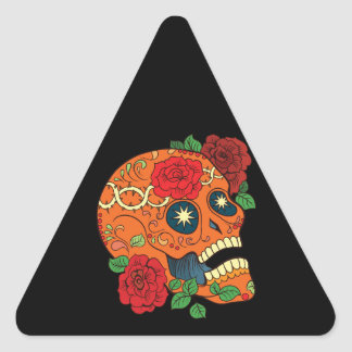 Día anaranjado del tatuaje de rosas rojos del pegatina triangular