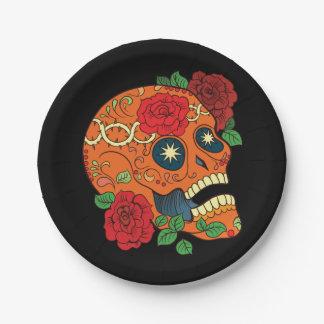 Día anaranjado del tatuaje de rosas rojos del platos de papel