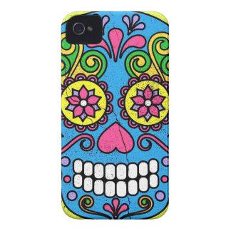 ¡Día azul brillante del cráneo del azúcar de los Case-Mate iPhone 4 Protectores