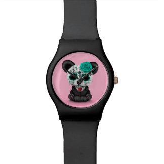 Día azul de la panda muerta del cráneo del azúcar relojes de mano