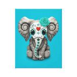 Día azul del elefante muerto del bebé del cráneo impresion en lona