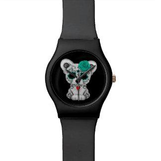 Día azul del negro muerto del oso del cráneo del relojes de pulsera
